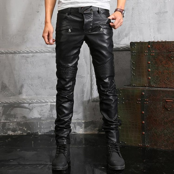 promo codes good best sell Balmain Moto Jeans Black Faux Leather Punk Goth 38 NWT
